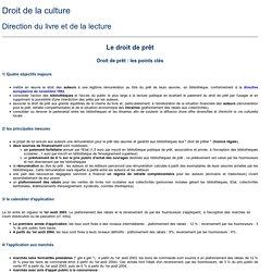 Direction du livre et de la lecture - Le droit de prêt : les points clés, Synthèse - juin 2003
