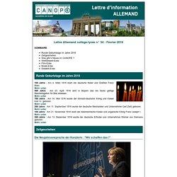 Lettre Allemand collège-lycée n° 54 - Février 2016 - Réseau Canopé – Direction territoriale académies de Besançon et de Dijon