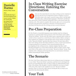 In-Class Writing Exercise Directions: Entering the Conversation
