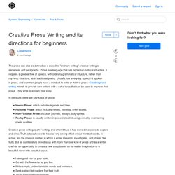 Creative Prose Writing and its directions for beginners – Systems Engineering