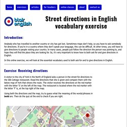 Street directions in English vocabulary exercise