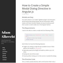 How to Create a Simple Modal Dialog Directive in Angular.js · Adam Albrecht