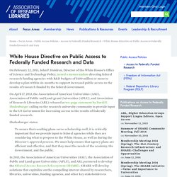 White House Directive on Public Access to Federally Funded Research and Data