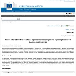Proposal for a Directive on attacks against information systems, repealing Framework Decision 2005/222/JHA