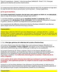 Annexe I - directive-machines 2006/42/CE - Point 1.7.4.1. Principes généraux de rédaction de la notice d'instructions - industry-finder.fr