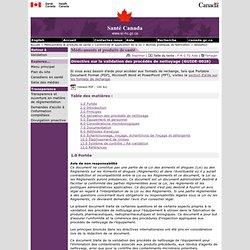 Directive sur la validation des procédés de nettoyage (GUIDE-0028) [Santé Canada, 2008]