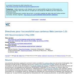 Directives pour l'accessibilité aux contenus Web (version 1.0)
