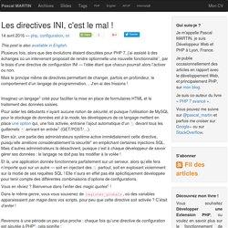Les directives INI, c'est le mal ! — Pascal MARTIN: développement Web & PHP