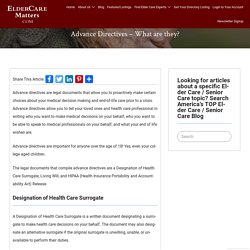 Advance Directives – What are they? - ElderCareMatters.com