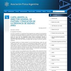 CARTA ABIERTA AL DIRECTOR GENERAL DE CULTURA Y EDUCACIÓN DE LA PROVINCIA DE BUENOS AIRES –