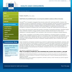 EUROPE 27/01/09 ADOPTION of the SCENIHR opinion concerning the antibiotic resistance effects of biocides