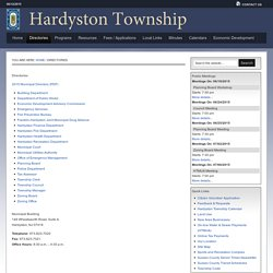 Directories — Hardyston Township, New Jersey