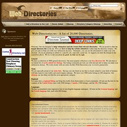 Web Directories List - 20,000 Up-to-date Directory Listings (free & paid).