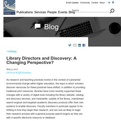 Library Directors and Discovery: A Changing Perspective?
