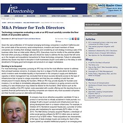 M&A Primer for Tech Company Directors