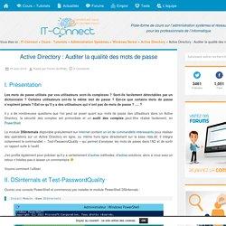 Active Directory : Auditer la qualité des mots de passe