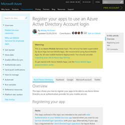 Register for Azure Active Directory authentication