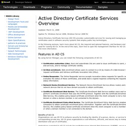 Active Directory Certificate Services Overview