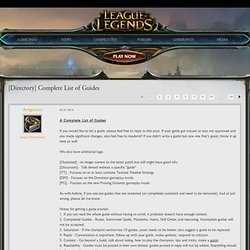 [Directory] Complete List of Guides