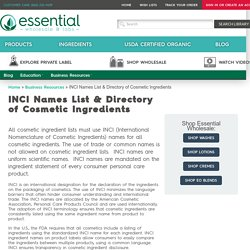 INCI Names List & Directory of Cosmetic Ingredients