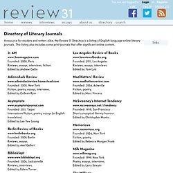 Directory of Online Literary Journals | Review 31