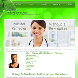Men's Health and Fitness Search Directory - naturalizedhealth.com