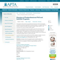 Directory of Postprofessional PhD and ScD/DSc Programs