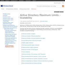 Active Directory Maximum Limits Scalability Capacity