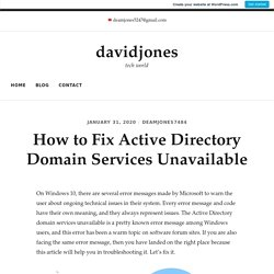 How to Fix Active Directory Domain Services Unavailable