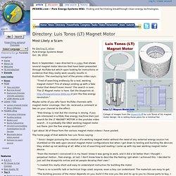 Directory: Luis Tonos (LT) Magnet Motor - PESWiki