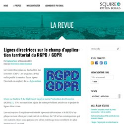 Lignes directrices sur le champ d'application territorial du RGPD / GDPR