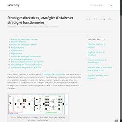Stratégies directrices, stratégies d'affaires et stratégies fonctionnelles