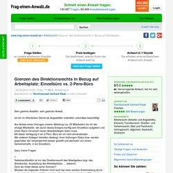 Grenzen des Direktionsrechts in Bezug auf Arbeitsplatz: Einzelbüro vs. 2-Pers-Büro