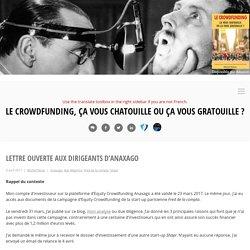 Lettre ouverte aux dirigeants d'Anaxago - Le Crowdfunding, ça vous chatouille ou ça vous gratouille ?