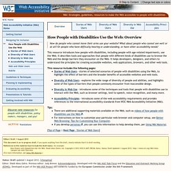 How People with Disabilities Use the Web: Overview ◦ Web Accessibility Initiative ◦ W3C