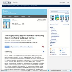 Auditory processing disorder in children with reading disabilities: effect of audiovisual training