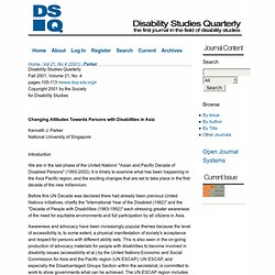 Changing Attitudes Towards Persons with Disabilities in Asia