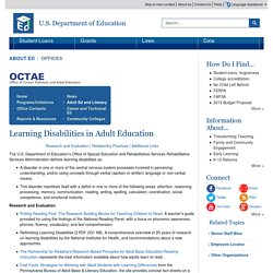Learning Disabilities in Adult Education