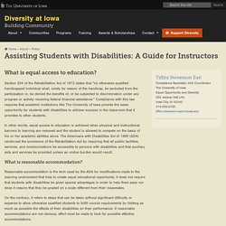 Assisting Students with Disabilities: A Guide for Instructors