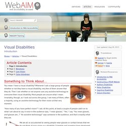 Visual Disabilities - Introduction