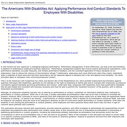 The Americans with Disabilities Act: Applying Performance and Conduct Standards to Employees with Disabilities