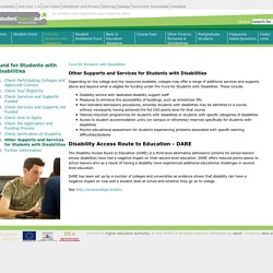 Other Supports and Services for Students with Disabilities - Welcome to studentfinance.ie!