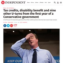 Tax credits, disability benefit and nine other U-turns from the first year of a Conservative government