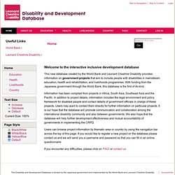 Home | Disability and Development Database