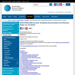 World Wide Web Access: Disability Discrimination Act Advisory Notes ver 4.0 (2010)