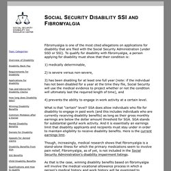 SOCIAL SECURITY DISABILITY SSI, FIBROMYALGIA