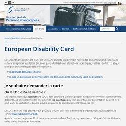 European Disability Card - DG Personnes handicapées