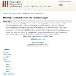 Training Manual for Media and Disability Rights