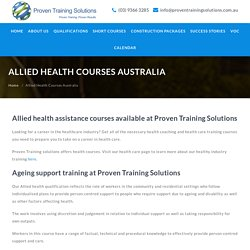 Allied Health and Disability Training Courses Melbourne, Australia