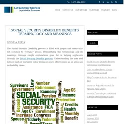 Social Security Disability Benefits Terminology and Meanings
